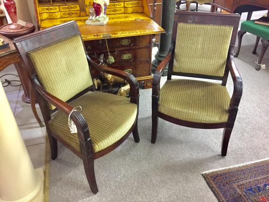 Pair of French Empire Mahogany Armchairs