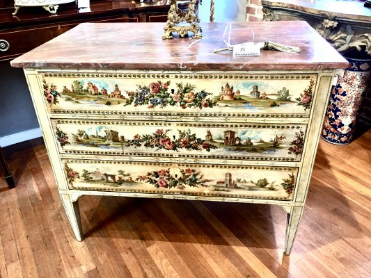 Italian Polychrome Hand-Painted Commode