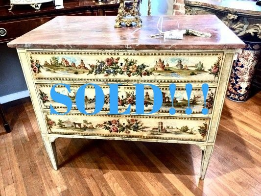 Italian Polychrome Hand-Painted Commode  (SOLD)
