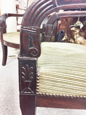 Pair of French Empire Mahogany Armchairs  (SOLD)