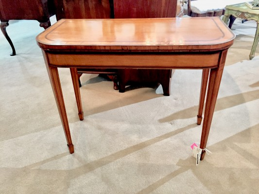 Sheraton Satinwood Banded Card Table