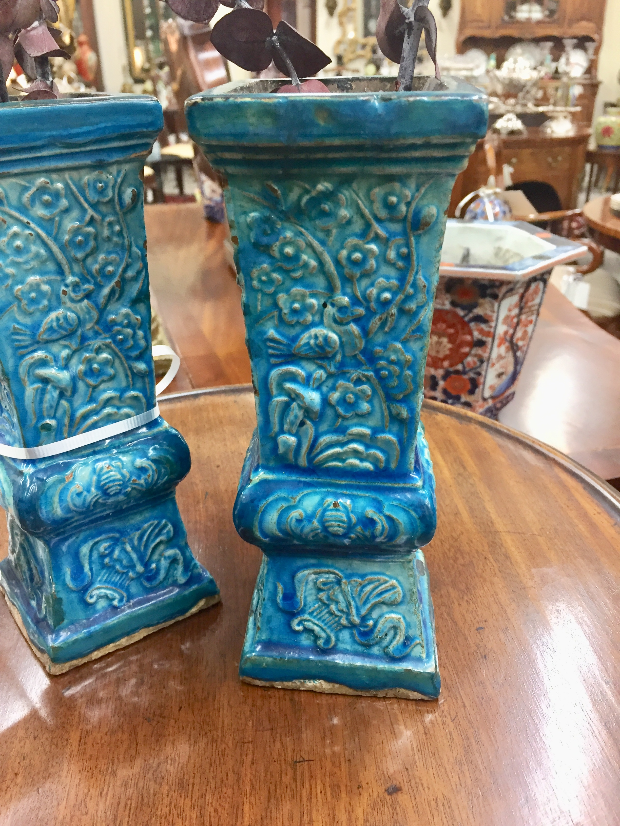 A Pair of Turquoise Porcelain Chinese Vases