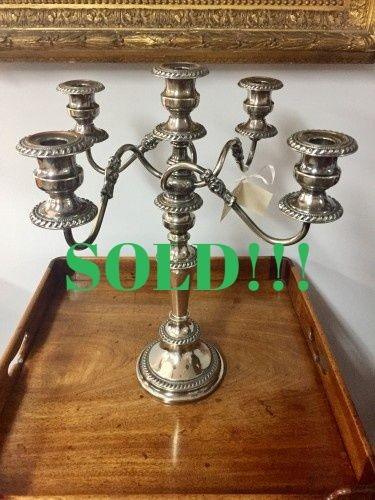 Silver Plated Five Branch Candelabras  (SOLD)