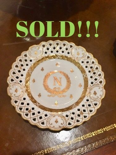 Set of 12 Dinner Plates with Napoleonic Crest & Bee Motif  (SOLD)