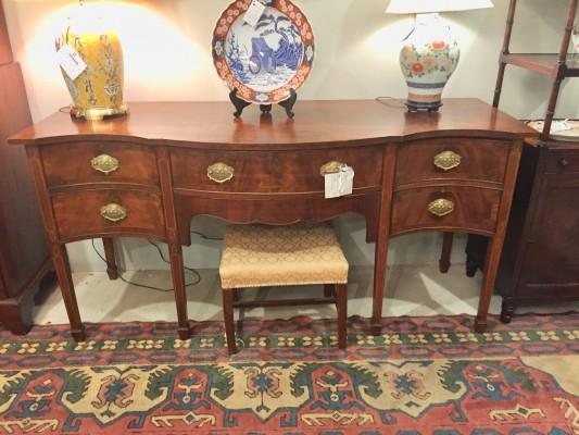 English Sheraton Style Mahogany Sideboard with Satinwood Inlay