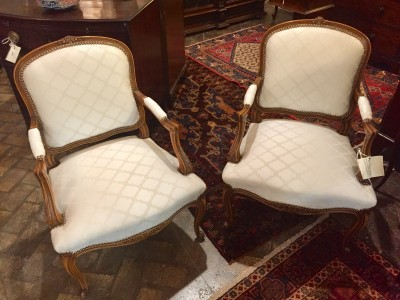 Pair of Louis XVI Style Fruitwood Fauteuils
