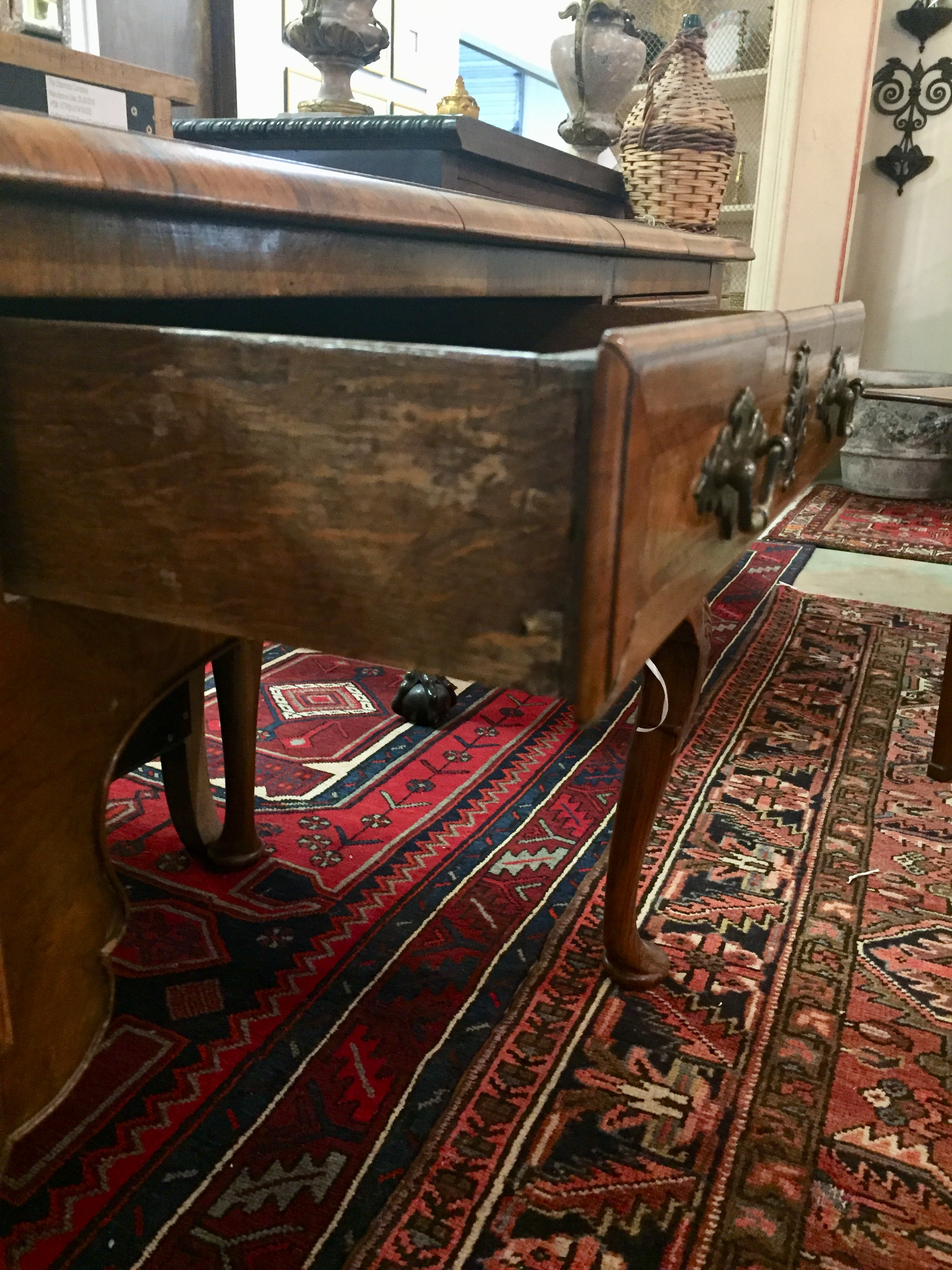 English Queen Anne Style Walnut Writing Table