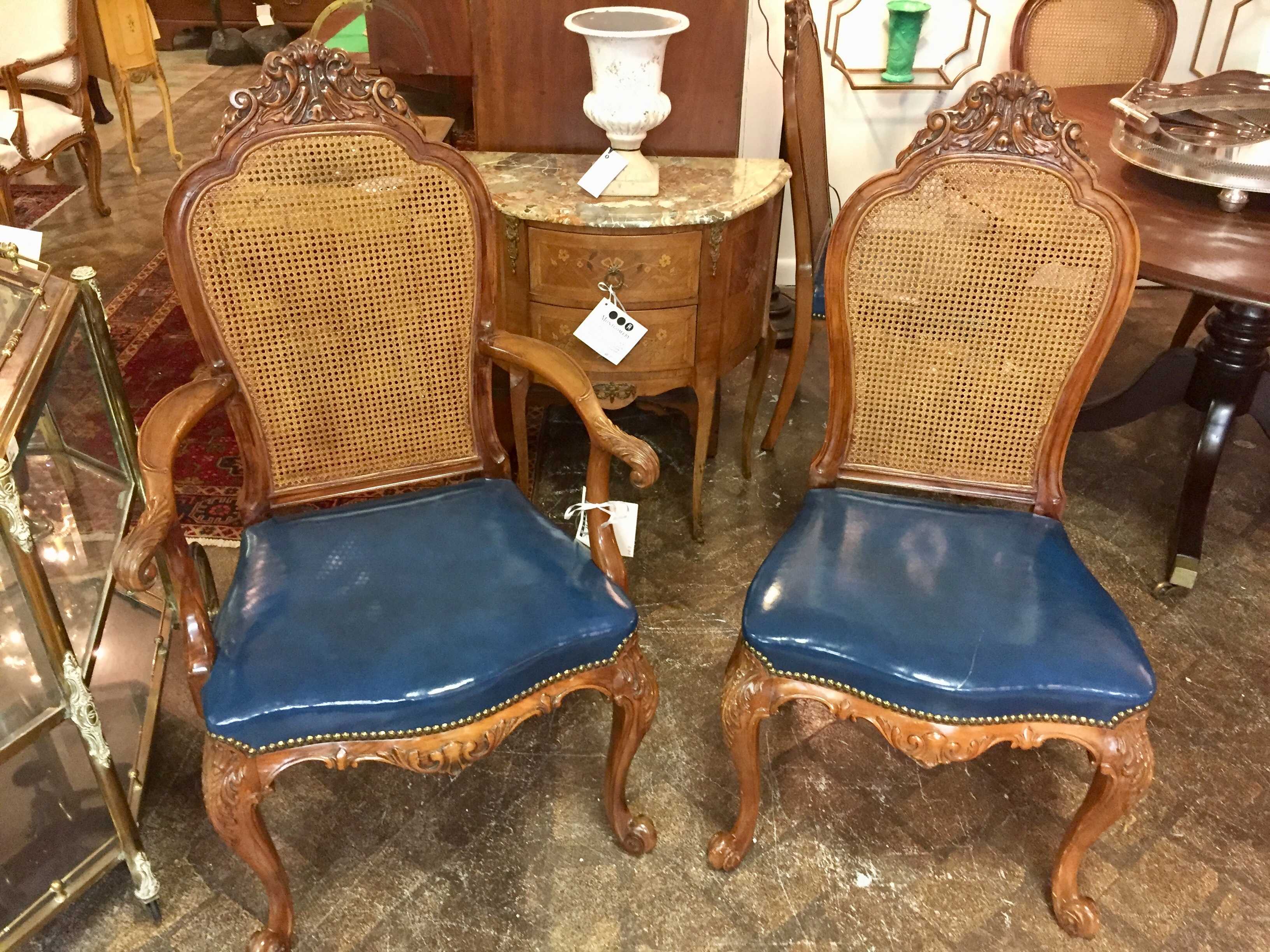Set of 6 French Cane Back Dining Chairs