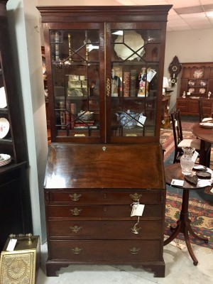 English Chippendale Mahogany Bureau Bookcase