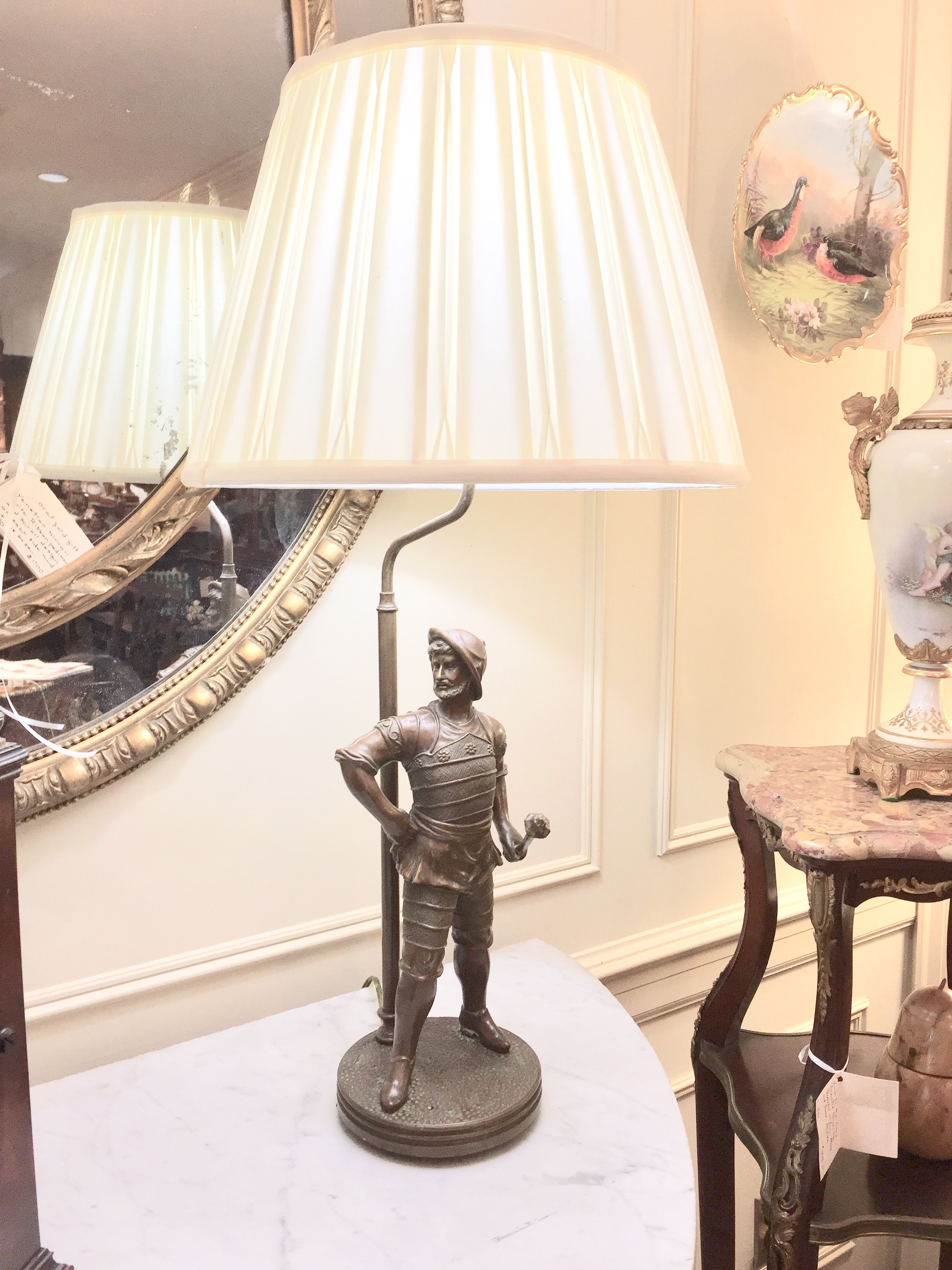 Pair of English Patinated Brass Table Lamps