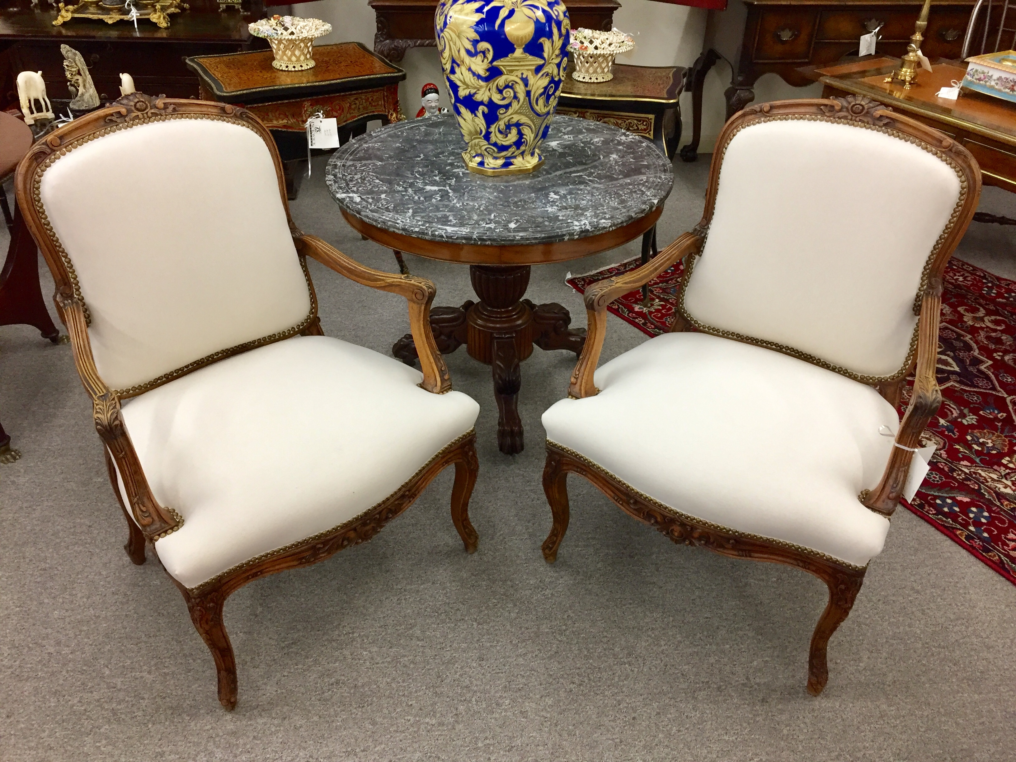 Pair of Provincial Louis XV Carved Walnut Fauteuils  (SOLD)