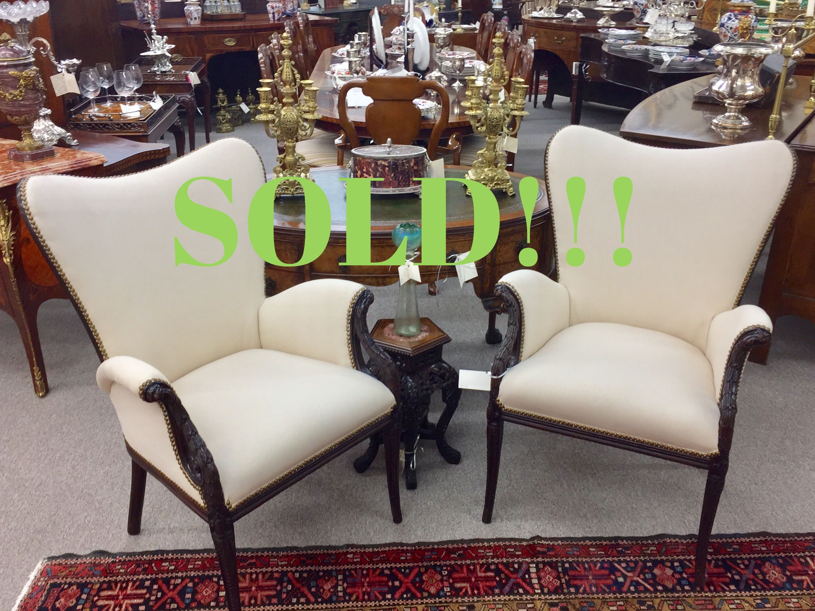 A Pair Stylized Art Deco Chairs  (SOLD)