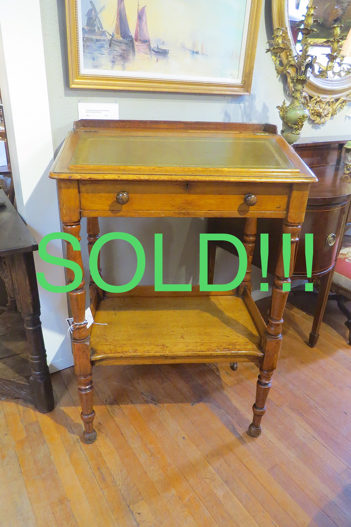 English Standing Desk with Slant Front Top  (SOLD)