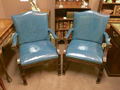 Chippendale Style Leather Armchairs  (SOLD)
