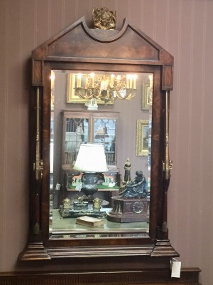English Mahogany Beveled Mirror - Spencer Family Crest