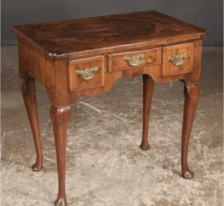 Queen Anne Style Walnut Three Drawer Lowboy