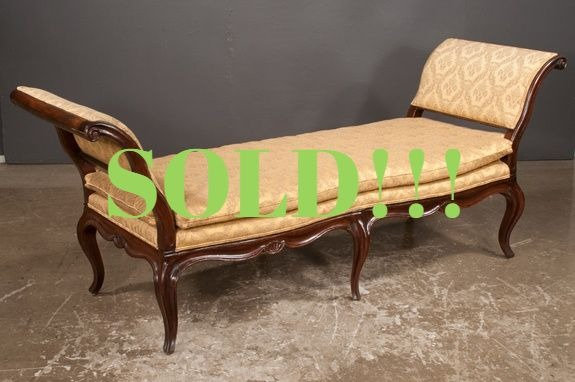 Country French Elm and Walnut Chaise Lounge (SOLD)