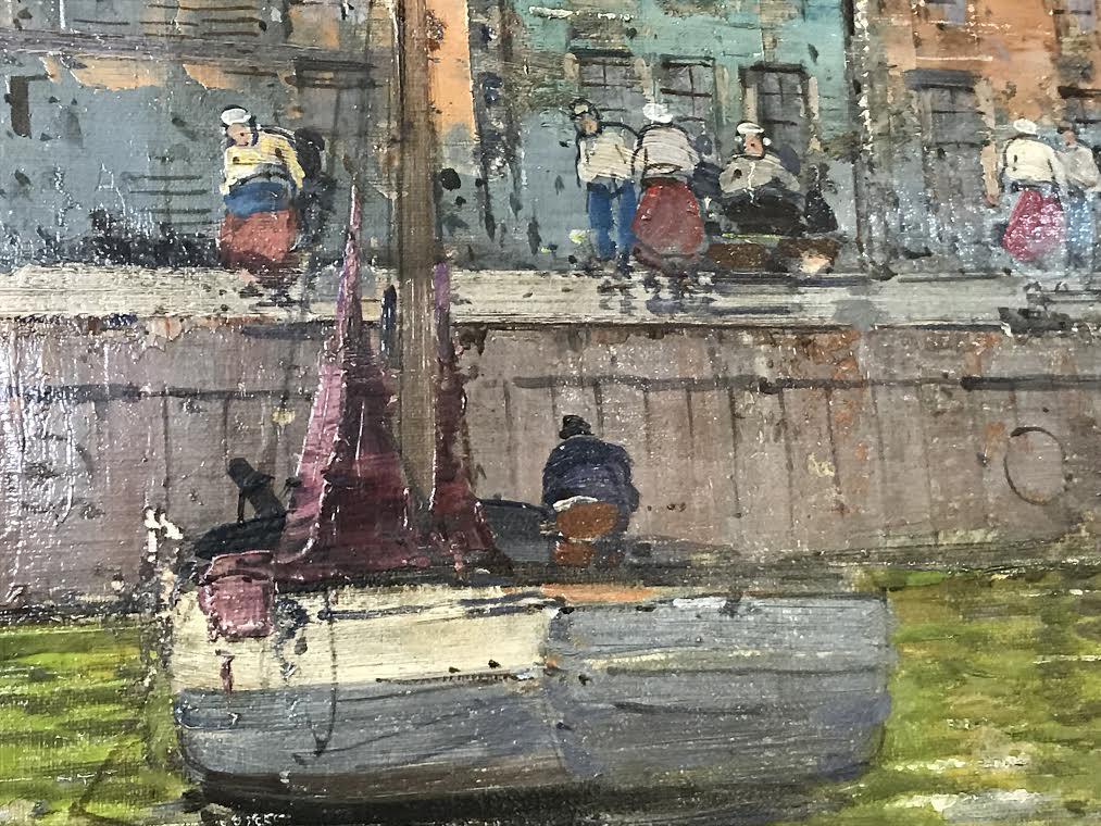 Oil On Panel of a Harbor Scene