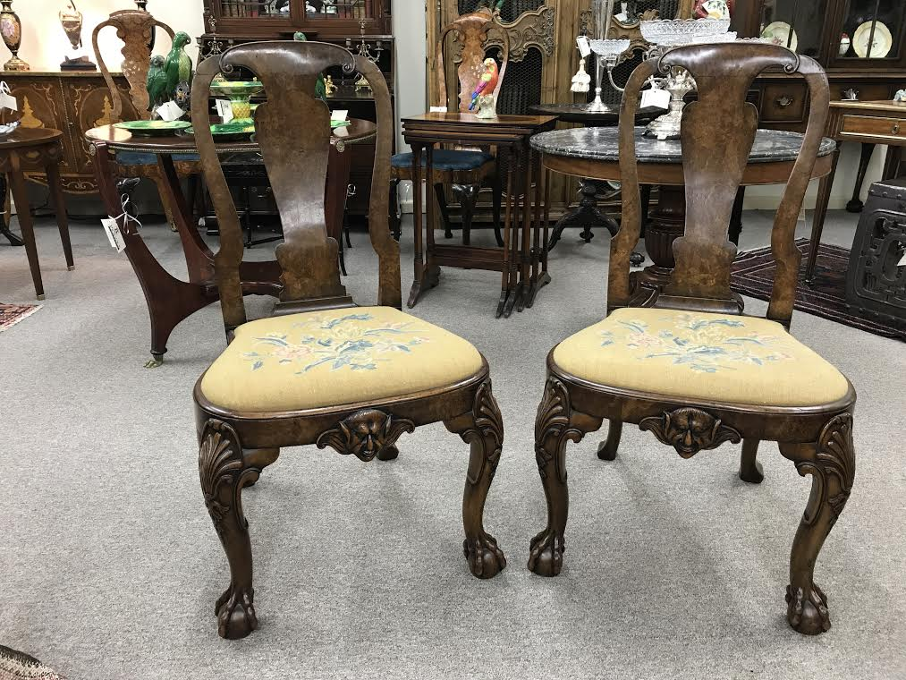 Pair of Superb Chippendale Style Walnut Side Chairs
