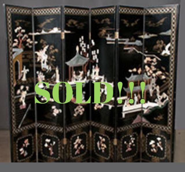 Six Panel Chinese Lacquered Screen  (SOLD)