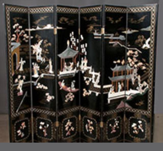 Six Panel Chinese Lacquered Screen