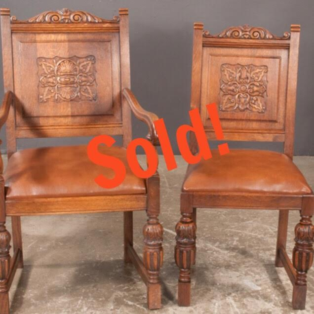 Set of Six Jacobean Style Oak Dining Chairs