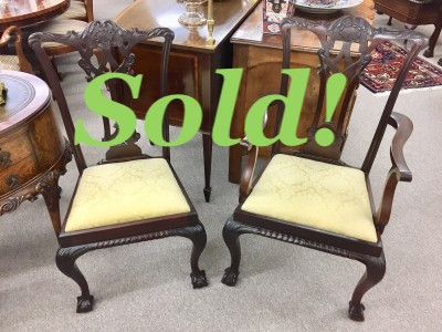 Set of 10 Chippendale Style Mahogany Dining Chairs   SOLD!!