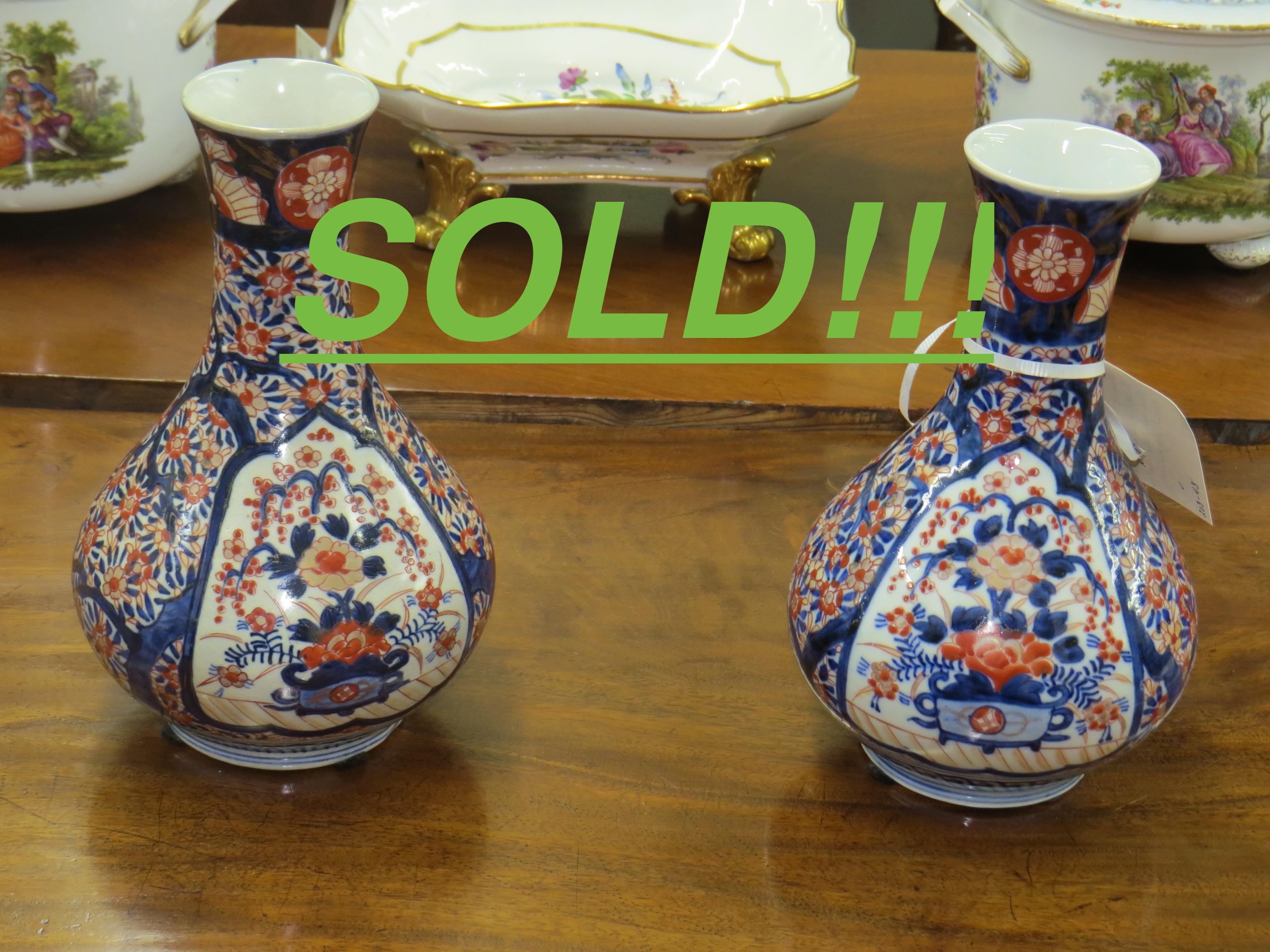 Pair of Japanese Imari Porcelain Bottle Vases  (SOLD)