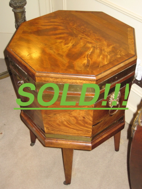 Brass Bound Chippendale Octagonal Cellarette  (SOLD)