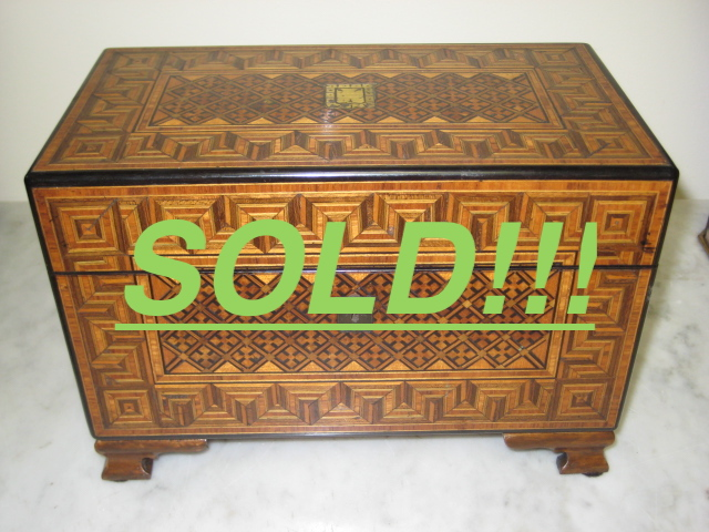 Chippendale Walnut Tea Caddy  (SOLD)