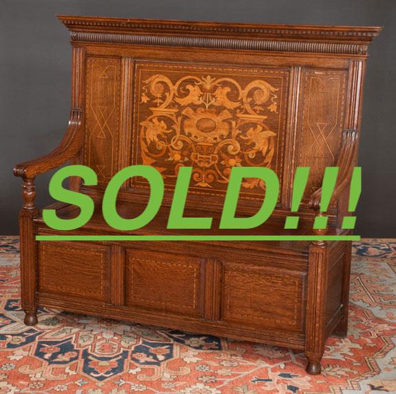 Jacobean Style Oak Hall Bench  (SOLD)