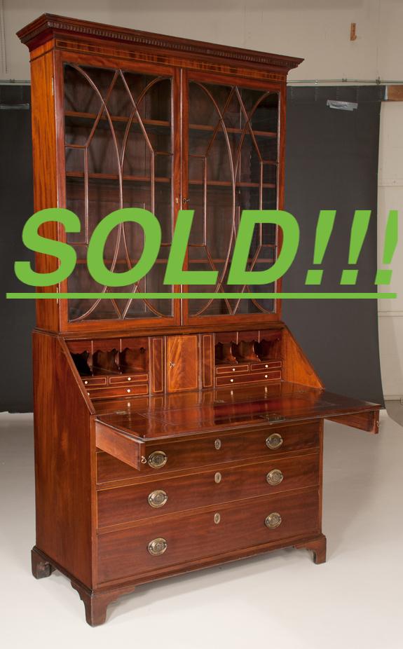 Fine Chippendale Mahogany Bureau Bookcase  (SOLD)
