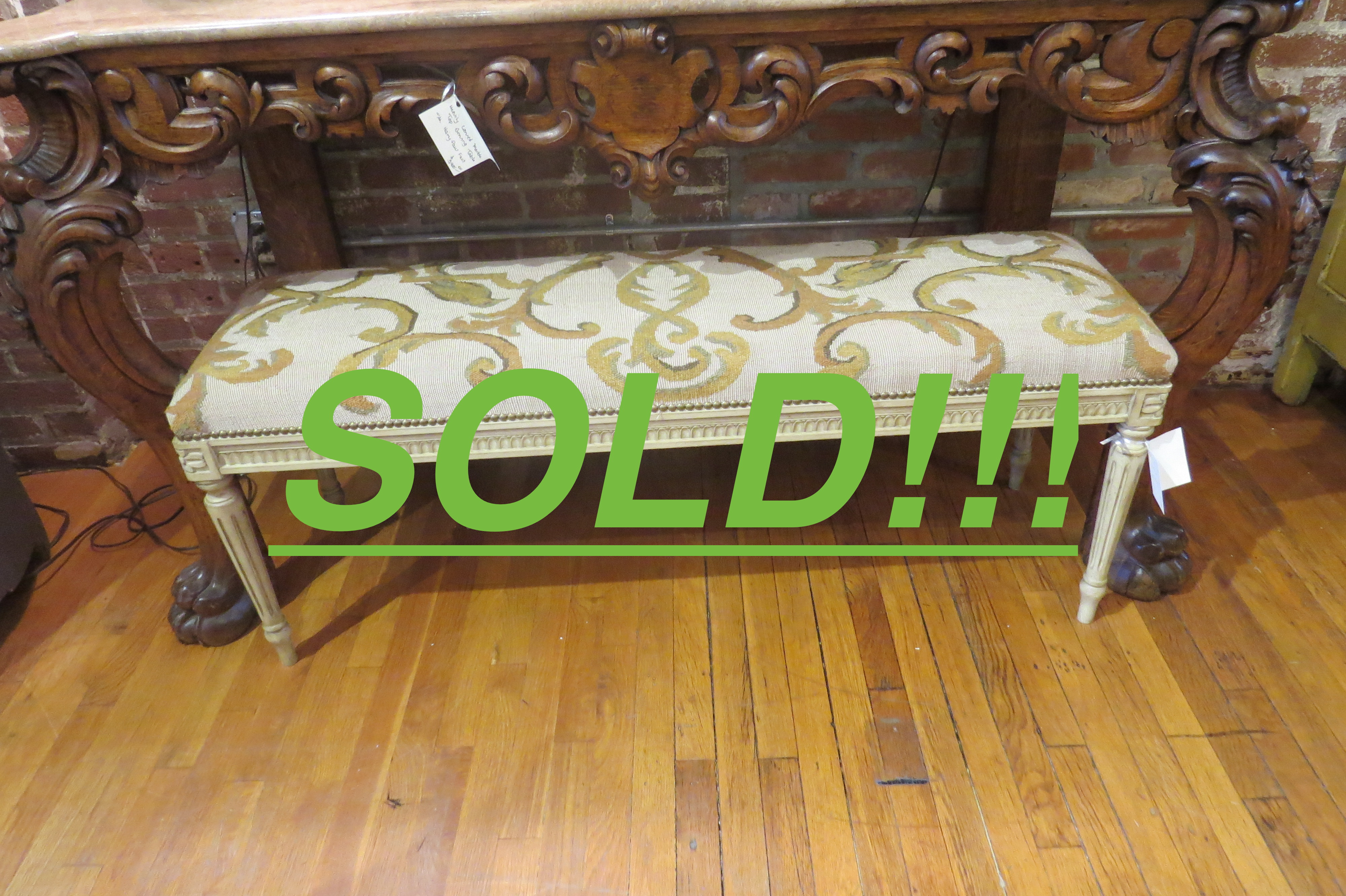 Upholstered Bench on Tapered, Fluted Legs  (SOLD)