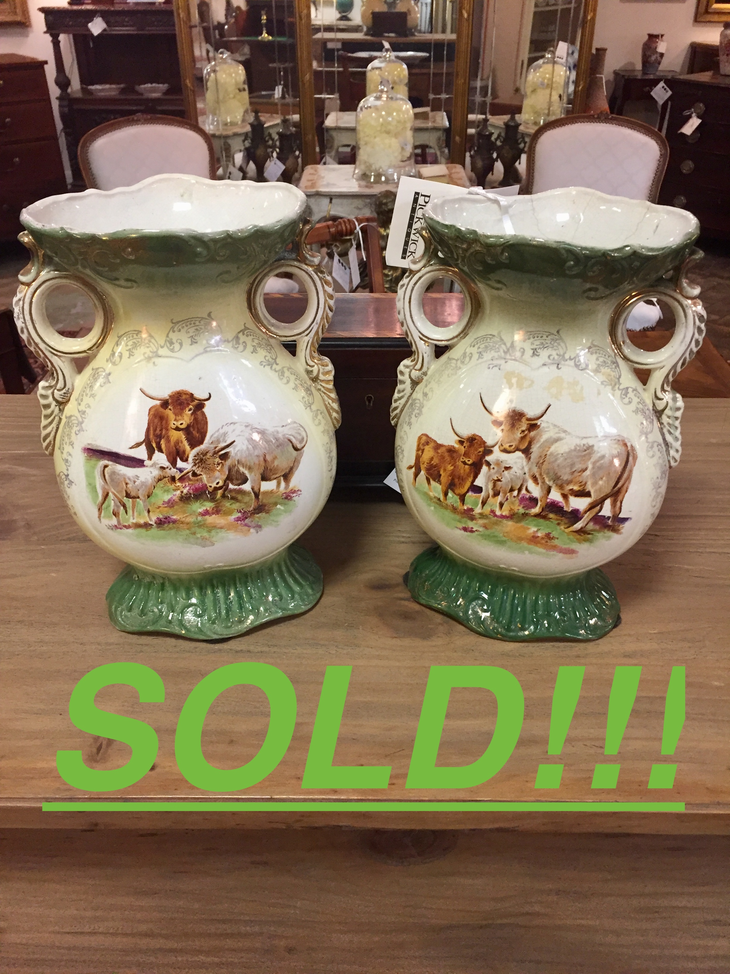 A Pair of Double Handled Porcelain Vases with Cow Decorations  (SOLD)