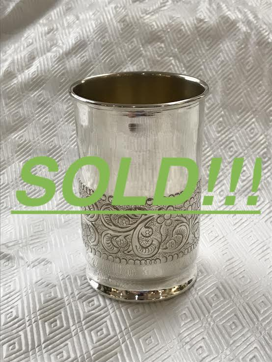 A Collection of Eight Decorated Gorham Sterling Silver Mint Julep Cups  (SOLD)