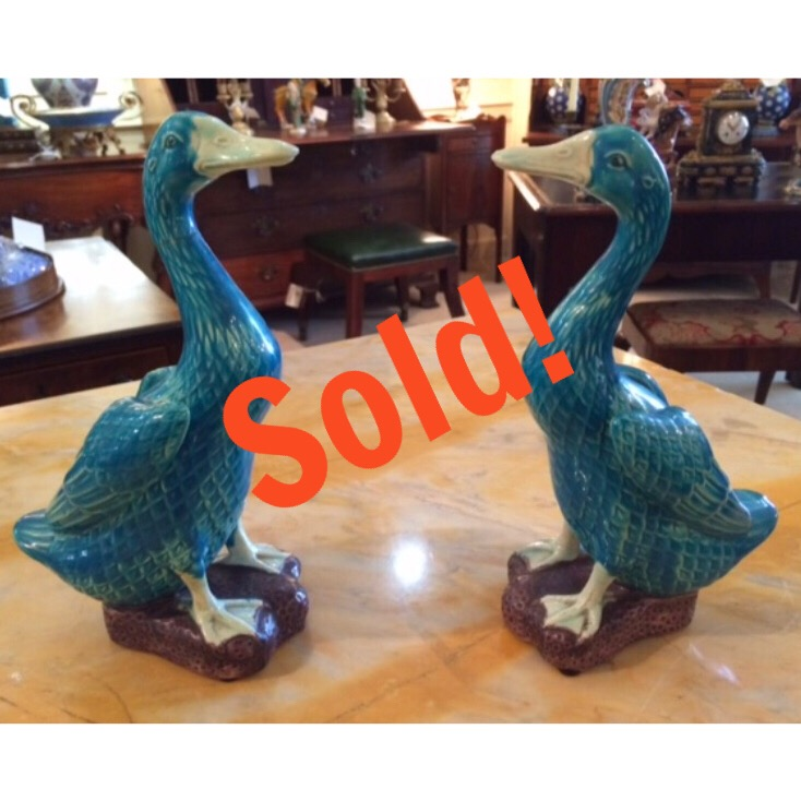 Pair of Porcelain Ducks, Turquoise