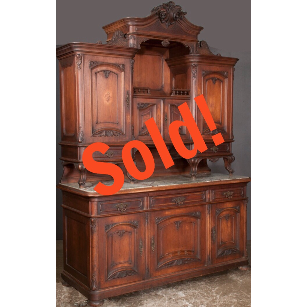 Two Part French Walnut Marble Top Buffet Cabinet