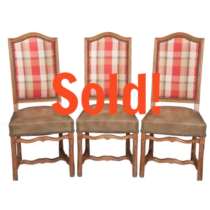 Set of Ten Country French Elm Dining Chairs