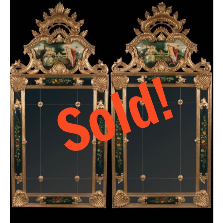 Pair of Gold Gilt and Decorated Venetian Style Mirrors